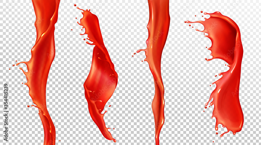Fototapeta Red tomato juice splash and stream. Vector realistic mockup of spiral waves of liquid ketchup, sauce, strawberry juice. Twisted flow of blood with splash and drops isolated on transparent background