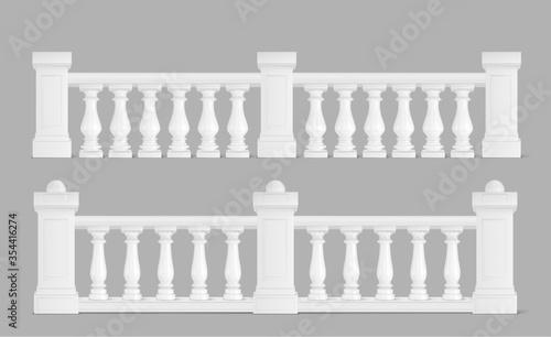 Fotografia Marble balustrade, white balcony railing or handrails