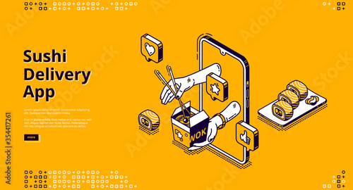 Obraz Sushi delivery isometric landing page. Mobile app, online service for order Japanese food and asian meals. Human hands giving wok box with noodles from smartphone screen 3d vector line art, web banner - fototapety do salonu