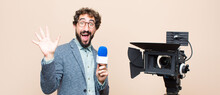 Television Presenter Smiling Happily And Cheerfully, Waving Hand, Welcoming And Greeting You, Or Saying Goodbye