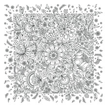 Coloring Page With Flowers Pattern