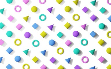 Colorful retro memphis pattern style flat lay background texture from geometric primitives, flat lay top view from above
