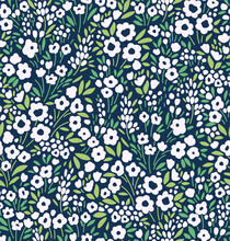 Vintage Floral Background. Seamless Vector Pattern For Design And Fashion Prints. Floral Pattern With Small White Flowers On A Navy Blue Background. Ditsy Style.