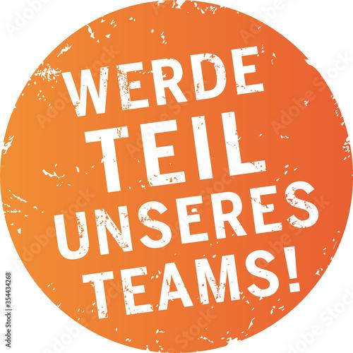 oranger Button Werde Teil unseres Teams Wallpaper Mural