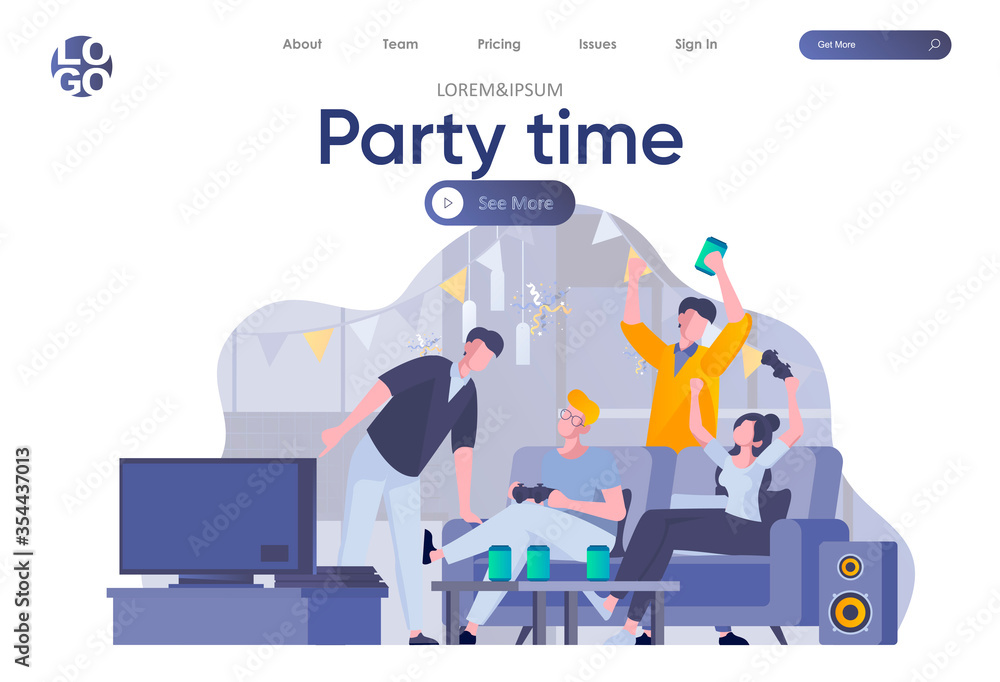 Fototapeta Party time landing page with header. Happy friends having fun, talking and drinking, playing video games scene. Students relax and joyfully spending time together situation flat vector illustration.