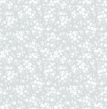 Floral Pattern. Pretty Flowers On Light Gray Background. Printing With Small White Flowers. Ditsy Print. Seamless Vector Texture. Spring Bouquet.