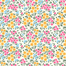 Vector Seamless Pattern. Pretty Pattern In Small Flower. Small Yellow, Pink And Pale Blue Flowers. White Background. Ditsy Floral Background. The Elegant The Template For Fashion Prints.