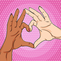 Love have no color poster 2 hands black and white showing heart sign, peace and love illustration in pop art retro comic style