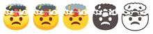 Exploding Head Emoji. Mind Blown Emoticon, Shocked Sad Yellow Face With Brain Explosion Mushroom Cloud Flat Vector Icon Set