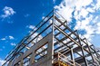 canvas print picture - Bauwerk // Baustelle unter blauem Himmel