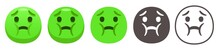 Nauseated Emoji. Sad Sickly Green Face Holding Back Vomit. Disgust Emoticon Flat Vector Icon Set
