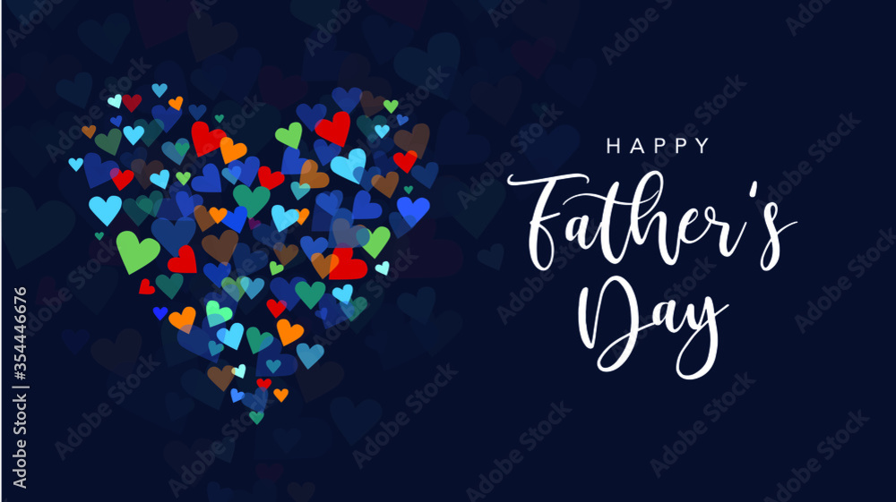 Fototapeta Happy Father's Day Holiday Greeting Card with Handwriting Text Lettering and Vector Hearts Background Illustration