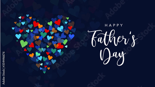Fototapeta Happy Father's Day Holiday Greeting Card with Handwriting Text Lettering and Vector Hearts Background Illustration obraz