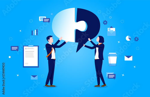 Fototapeta Problem solving - Image of two businesspeople at work, piecing together a speech bubble puzzle, with business elements in background. Communication, teamwork and solution concept. Vector illustration. obraz