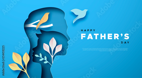 Obraz Father's Day papercut card of dad and son template - fototapety do salonu