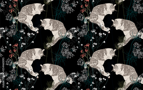 neko cat vector japanese chinese nature ink illustration sketch traditional seam Tableau sur Toile