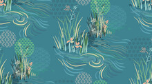 River Pond Flower Japanese Chinese Design Sketch Ink Paint Style Seamless Pattern