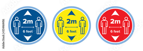 Social distancing floor sticker decal or sign set Fototapet