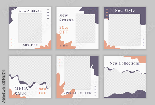 Fototapeta Set of Editable square instagram banner template. Suitable for social media post and web internet ads. Vector illustration with photo college obraz