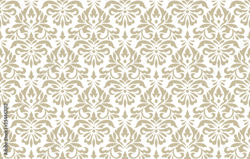 Obraz Vintage abstract pattern in damask style. Seamless vector background. White and gold texture. Elegance texture - fototapety do salonu