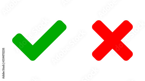 Yes and No or Right and Wrong or Approved and Declined Icons with Green Check Mark and Red X Sign Slika na platnu