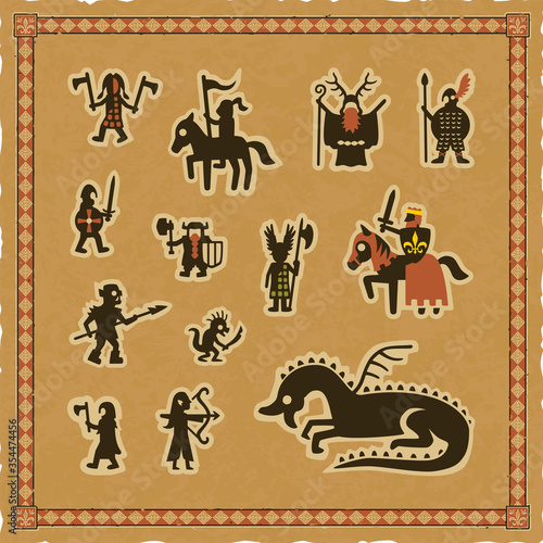 Tela Set of Medieval Fantasy Icons with multiple role-playing game and Middle Ages character silhouettes on a square parchment background with an ornate frame