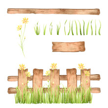 Wooden Fence With Grass And Yellow Flower Watercolor Illustration With Isolated Parts.
