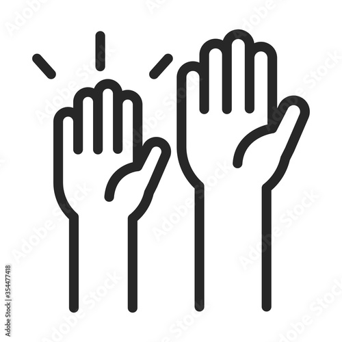 donation charity volunteer help social raised hands line style icon