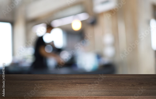 Canvastavla Wood Table Top in Blur Background room interior with empty copy space