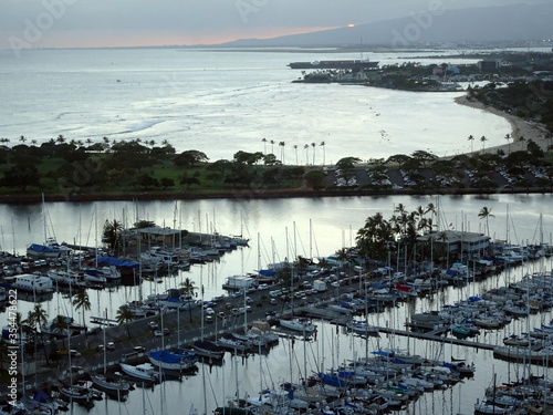 Aerial of Ala Wai Harbor and Ala Moana Beach Park at Sunset Wallpaper Mural