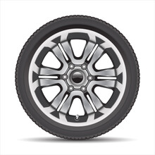 Realistic Car Wheel Alloy With Black Rubber On White Background Vector Illustration.