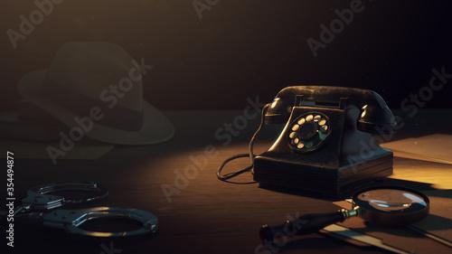 Fotografie, Obraz 3D rendering of a detective desk / high contrast image
