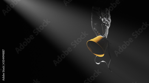 Photo 3D illustration, rendering of an Airplane oxygen mask on a dark background lit