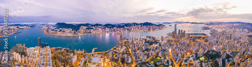 Obraz Epic aerial view of Victoria Harbour, Hong Kong, Twilight metropolis, panorama - fototapety do salonu