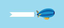 Blue Cartoon Zeppelin Airship ...
