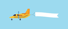 Vintage Yellow Airplane Flying With Blank White Ribbon Banner Behind It