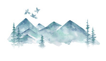 Watercolor Winter Landscape Wi...