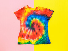 A Bright Tie Dye T-shirt On A ...