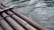 Close up of Wooden Raft drifting down River