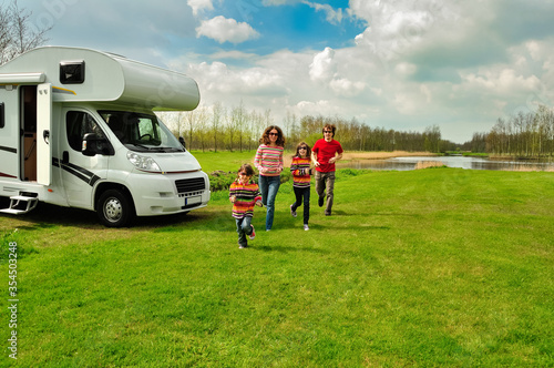 Vászonkép Family vacation, RV travel with kids, happy parents with children have fun on ho