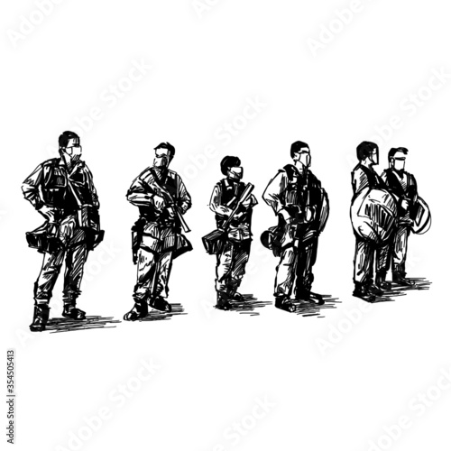 Fotografía Drawing of Hong Kong polices are standing on the street