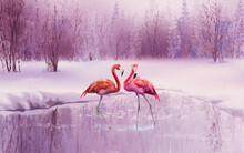 A Pair Of Pink Flamingos Stand In The Water On The Shore Of The Pond