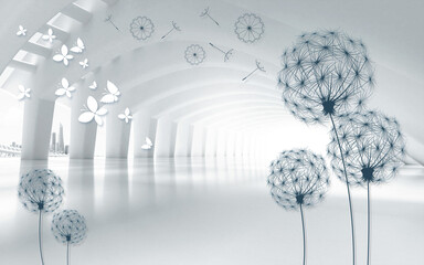 Panel Szklany Podświetlane Czarno-Biały 3d illustration, white tunnel, urban view, dark contours of dandelions and white paper butterflies