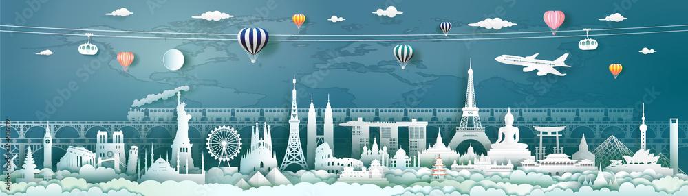 Fototapeta Travel landmarks world with world map background.