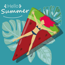Hello Summer. Recreation. Vacation Relax. Girl, Woman Sunbathes, Relaxes On The Beach, At Sea, In The Ocean In A Swimsuit. Trendy Vector Illustration On A Summer Theme.
