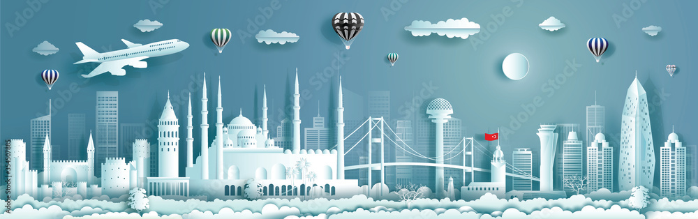Fototapeta Travel to Turkey landmarks of europe with panorama view background.