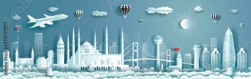 Fotomural Travel to Turkey landmarks of europe with panorama view background