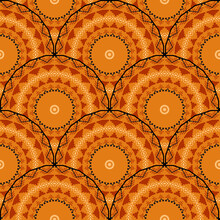 Boho Vector Round Mandalas Vector Seamless Pattern. Geometric Abstract Deco Background. Geometry Shapes, Zig Zag Lines, Circles, Ornate Tribal Folk Style Repeat Tiled Ornaments. Ethnic Orange Design