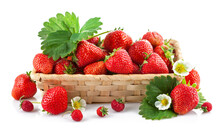 Basket Fresh Strawberry With Green Leaf And Flower. Isolated On White Background.