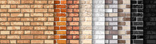 Realistic Vector Brick Wall Seamless Pattern Set. Flat Wall Texture. Yellow, Gray, Red, White, Black Textured Brick Background For Print, Paper, Design, Decor, Photo Background